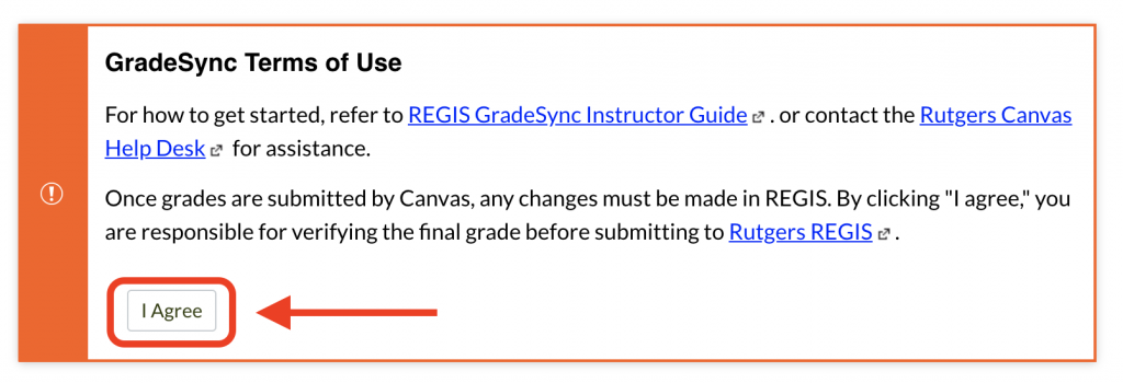 REGIS GradeSync terms of use I accept button