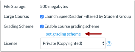 Setting option to enable grading scheme