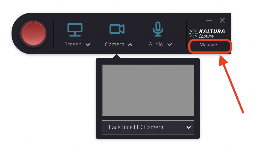 Kaltura Capture application with Manage option highlighted