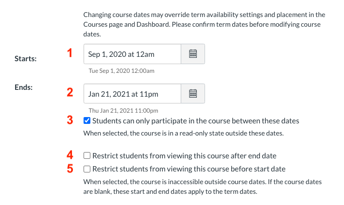 screenshot of canvas settings for course dates