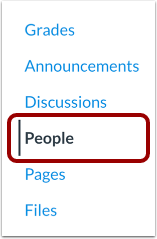 screenshot of people link in course navigation
