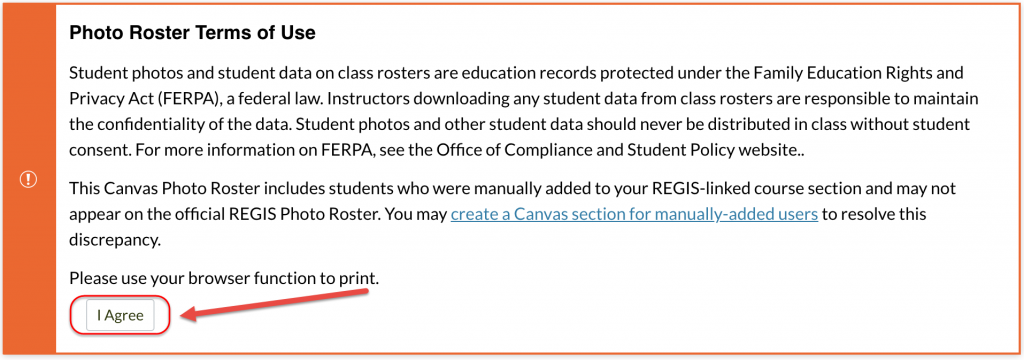 photo roster terms of use
