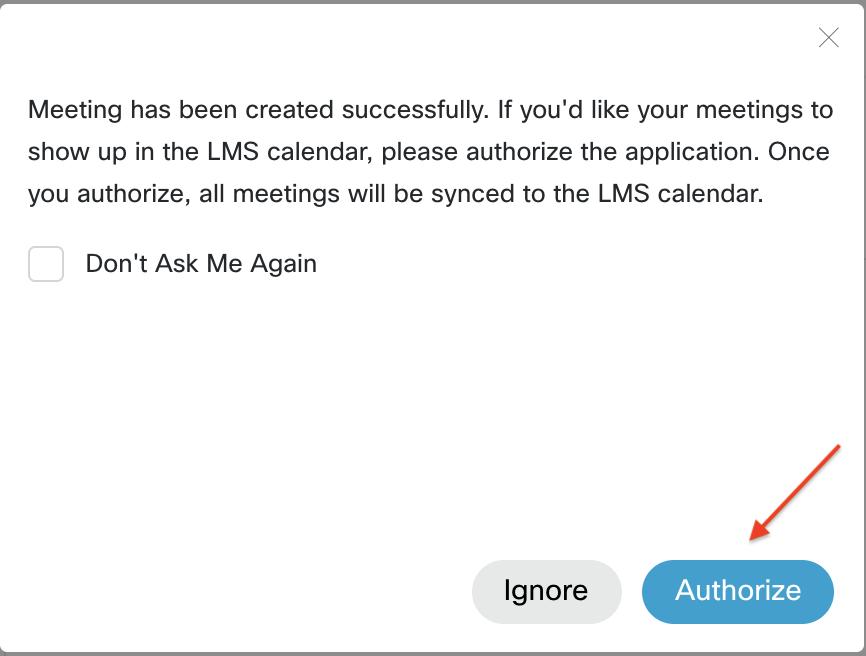 Webex pop-up window to authorize calendar feature
