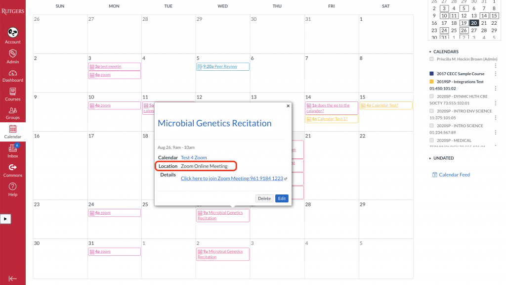 Canvas calendar with meeting details popup showing zoom meeting link