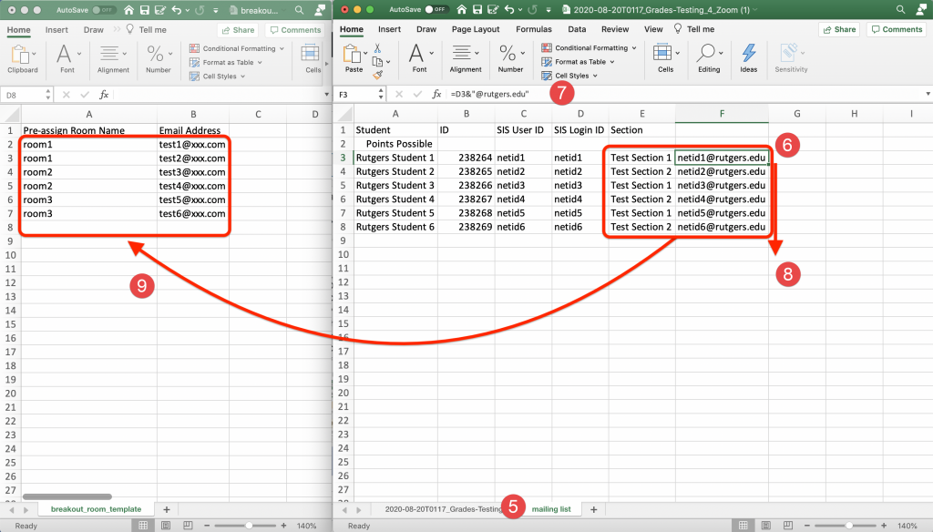 Excel spreadsheet showing the steps outlined to create email addresses