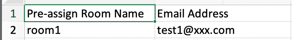 Zoom meeting room name and email address spreadsheet
