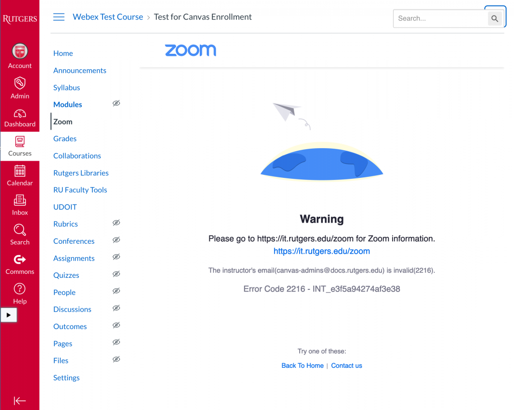 warning message for zoom. Invalid email