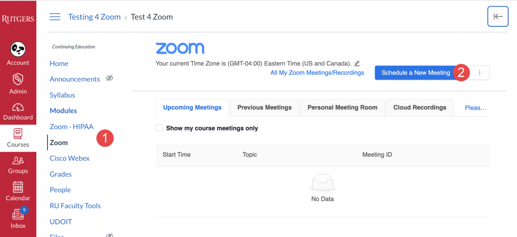Click Zoom in course nav amd schedule meeting