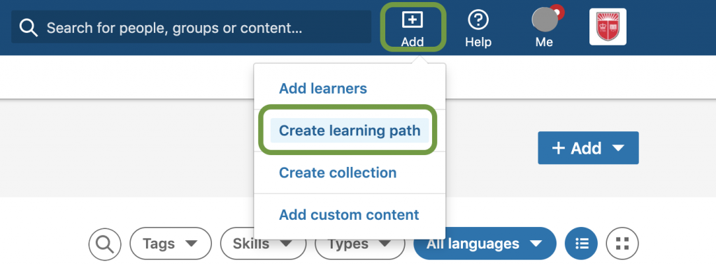 Click Add to Create Learning Path