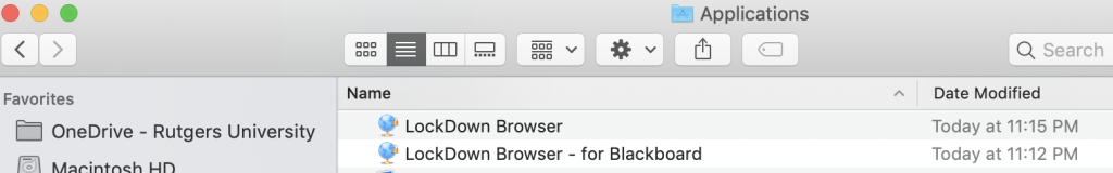 Macition Application folder with 2 copies of Lockdown Browser
