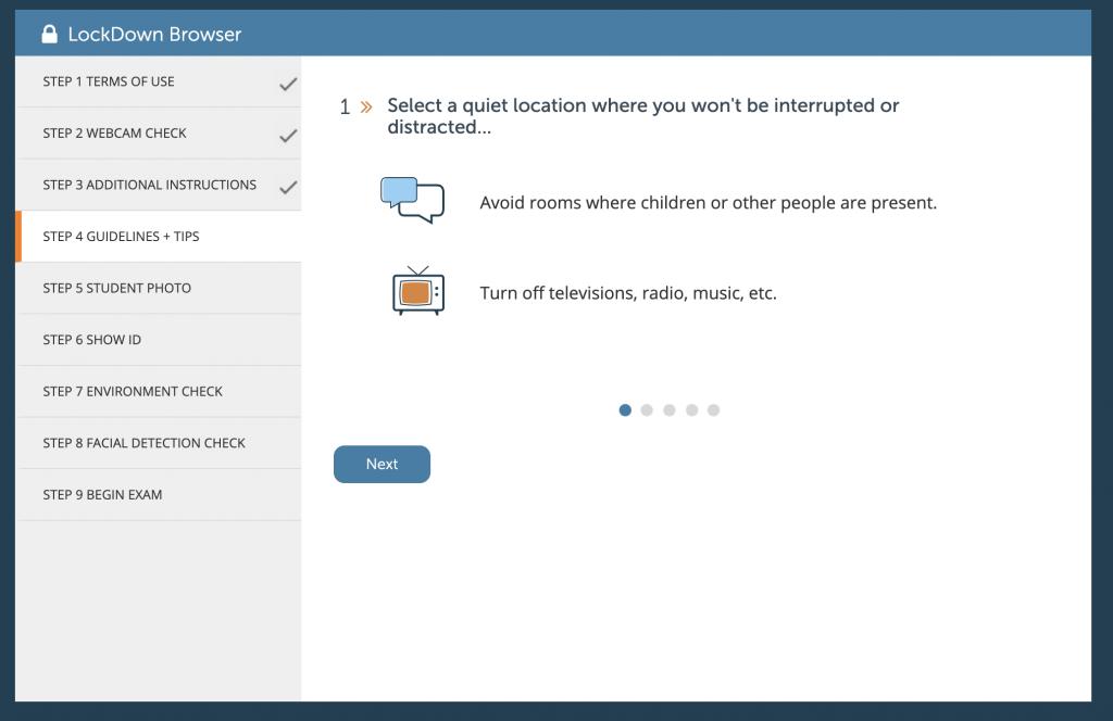 Sample Respondus Monitor tips image