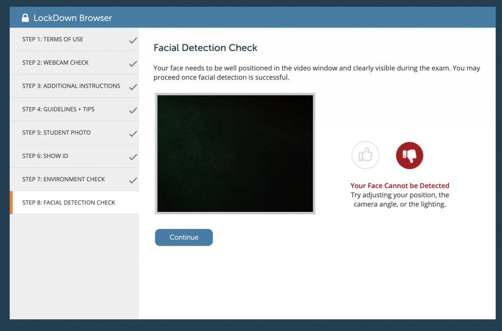 Respondus Monitor Facial Detection Check with indicator that face is not detected in video stream.