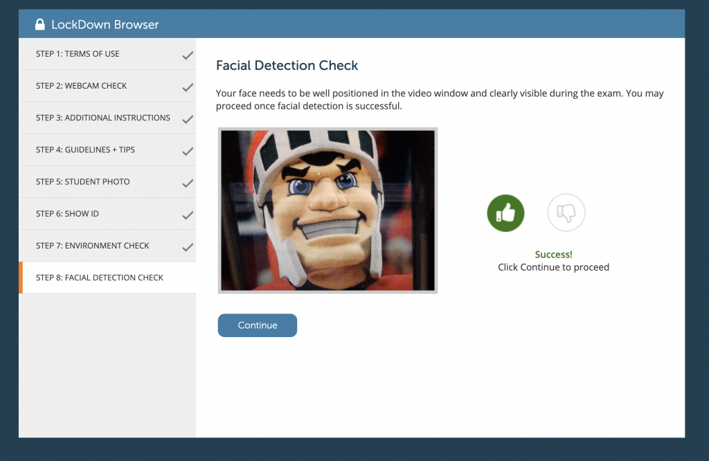 Respondus Monitor Facial Detection Check with indicator that face is detected.