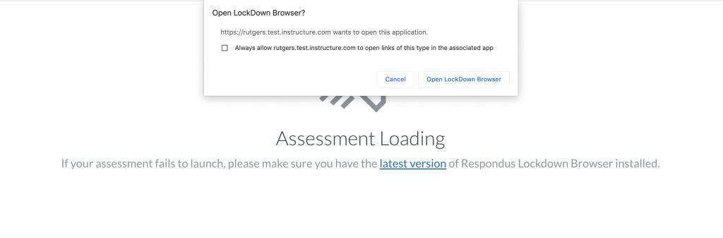 Open Lockdown Browser pop-up