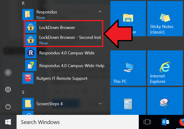Application menu showing 2 versions of Lockdown browser