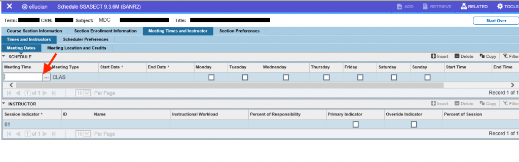 screenshot of meeting time field in banner