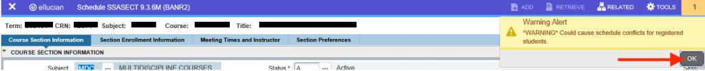 screenshot of meeting dates in banner