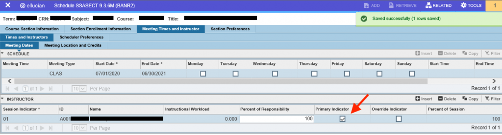 screenshot of meeting time validation code in banner