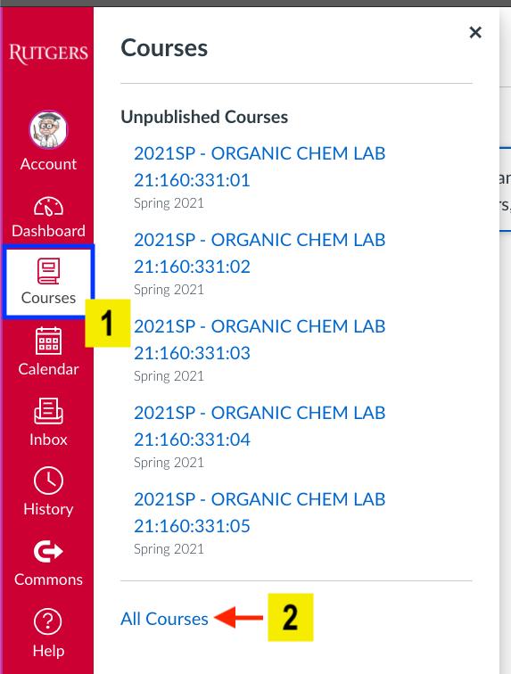 screenshot of canvas menu options highlighting all courses