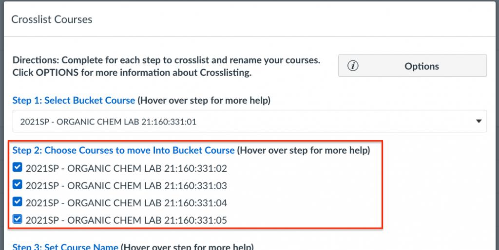 cross-list tool step 2 menu displaying course list
