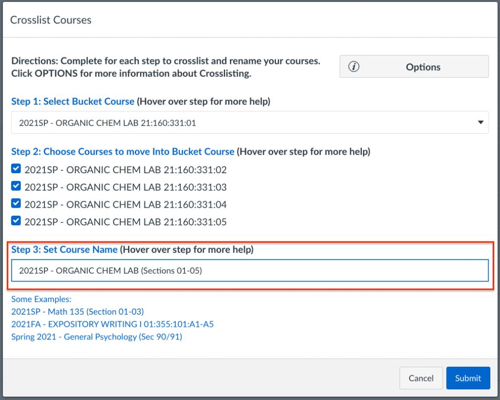 cross-list tool step 3 setting course name