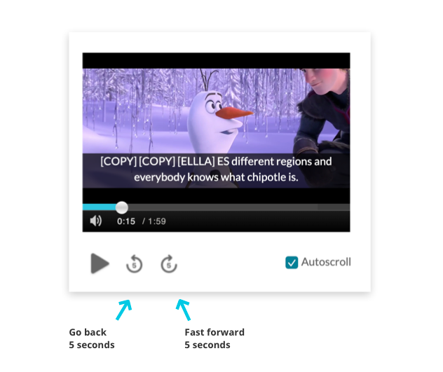 Caption editor player controls to advance or seek backwards by 5 seconds