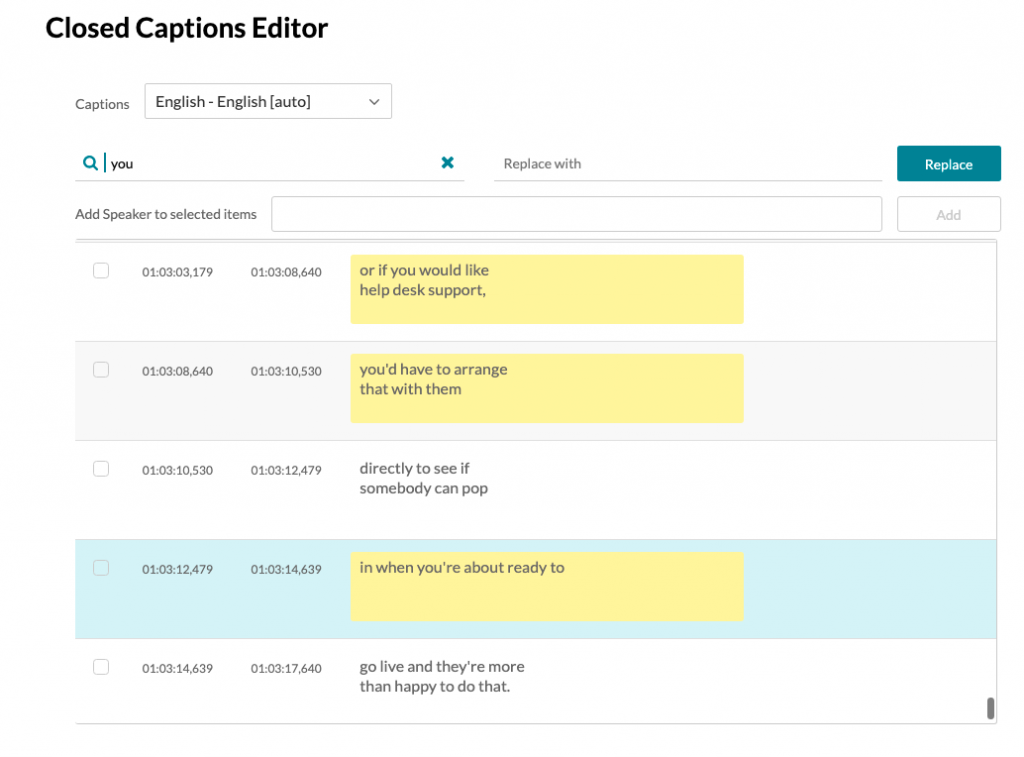 """Caption editor with multiple lines highlighted in yellow and search term box with """"you."""""""