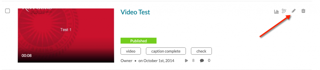 video entry with edit button highlighted.