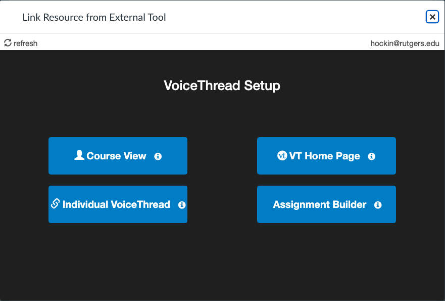 Voicethread content selection options