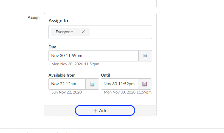 Canvas Assignment with assign to set for everyone.